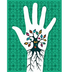 Go green hand tree vector image