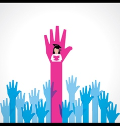 Graduate girl in male crowd vector