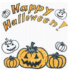Halloween background with doodle pumpkin vector image vector image
