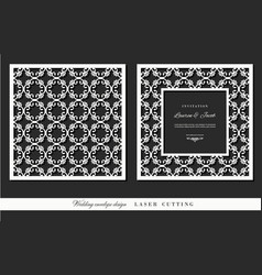 laser cutting frame and ornamental panel set vector image