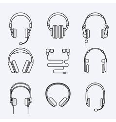 line headphones icon set vector image