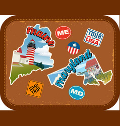 maine maryland travel stickers vector image vector image
