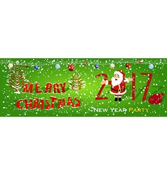 Merry christmas happy new year 2017 vector image