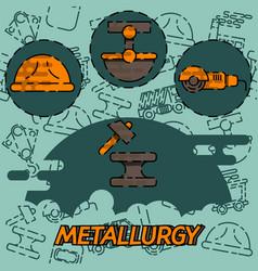Metallurgy flat concept icon vector