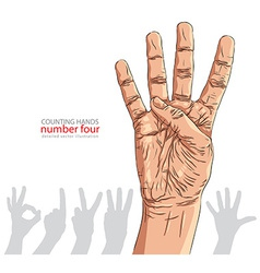 Numbers hand signs set number four detailed vector image vector image