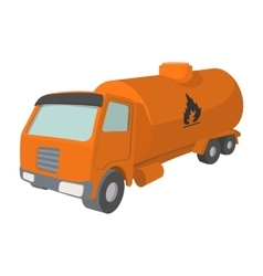 Orange oil truck cartoon icon vector image