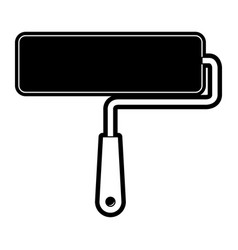 paint roller icon black silhouette vector image