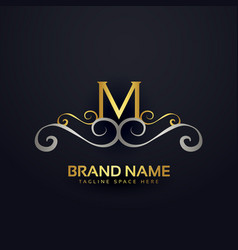premium letter m logo design with floral effect vector image vector image