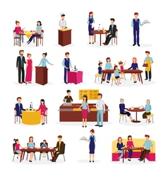 Restaurant People Situations Flat Icons Set vector image vector image