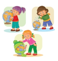 Set icons small girls playing with globe vector image vector image