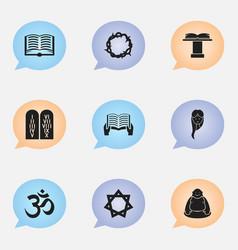 Set of 9 editable religion icons includes symbols vector