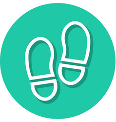 shoe prints in circle line icon vector image vector image