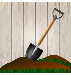 Shovel in the ground gardening tool vector
