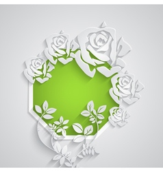 Speech bubble with paper flowers vector image