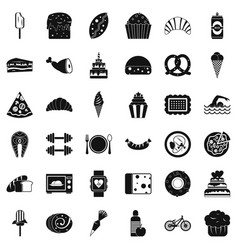 Sweet calories icons set simple style vector