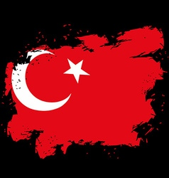 Turkey flag grunge style on black background Brush vector image