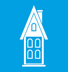 Two storey house with attic icon white vector