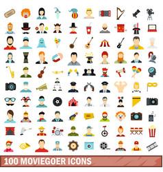 100 moviegoer icons set flat style vector