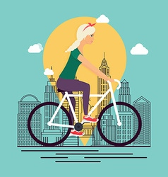 Girl on bike Background city skyline in linear vector image
