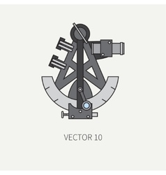 Line flat color marine icon with nautical vector