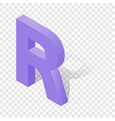 r letter in isometric 3d style with shadow vector image