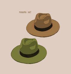 Beach hat panama vector