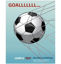Soccer ball in the goal net on the blue background vector