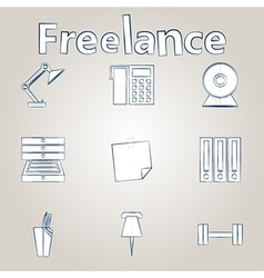 Sketch icons for freelance and business vector image