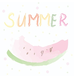 Summer card with watermelon - watercolor design vector