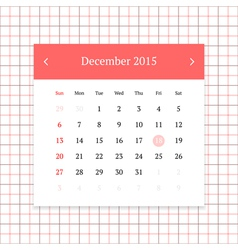 Calendar page for december 2015 vector