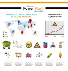 Power plant and mineral extraction infographic vector