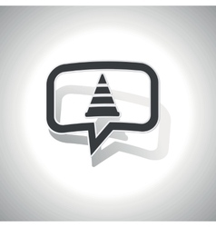 Curved traffic cone message icon vector