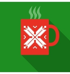 Christmas red mug with hot drink vector
