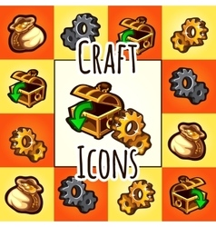 Set of craft icon chest gear bag with gold vector