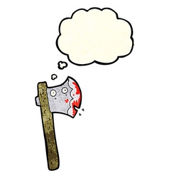 Bloody cartoon axe with thought bubble vector