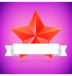 Red star with ribbon vector