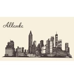 Atlanta skyline engraved hand drawn sketch vector