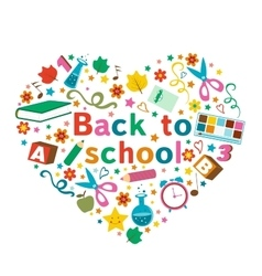 Back to school colorful composition in a shape of vector image vector image