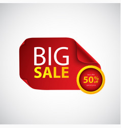 Big sale red paper with curved corners vector