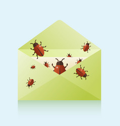 bugs in the mail vector image vector image
