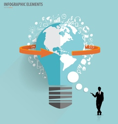 Businessman showing light bulb with cloud of vector image