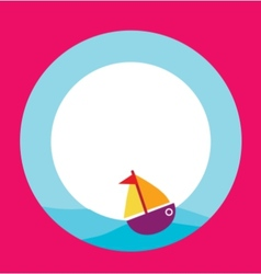 card template with toy boat vector image vector image