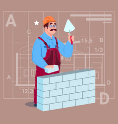 Cartoon builder laying brick wall hold spatula vector