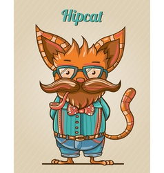 Cartoon hipster style cat vector