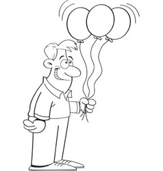 Cartoon man holding balloons vector image vector image