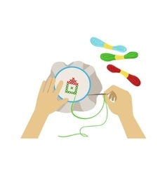 Child doing embroidery with only vector