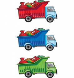 Christmas gift truck vector image vector image