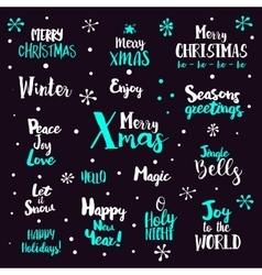 Christmas typography Set on dark vector image vector image