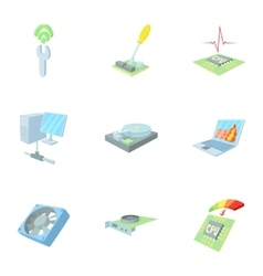 Computer setup icons set cartoon style vector