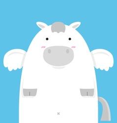 Cute fat big pegasus vector